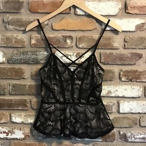 CHARLOTTE RUSSE Black Nude Lace Cami Top Blouse